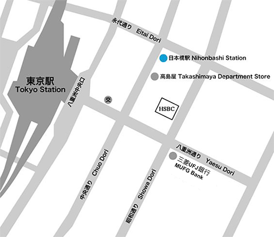 Map of location of HSBC Tokyo Branch